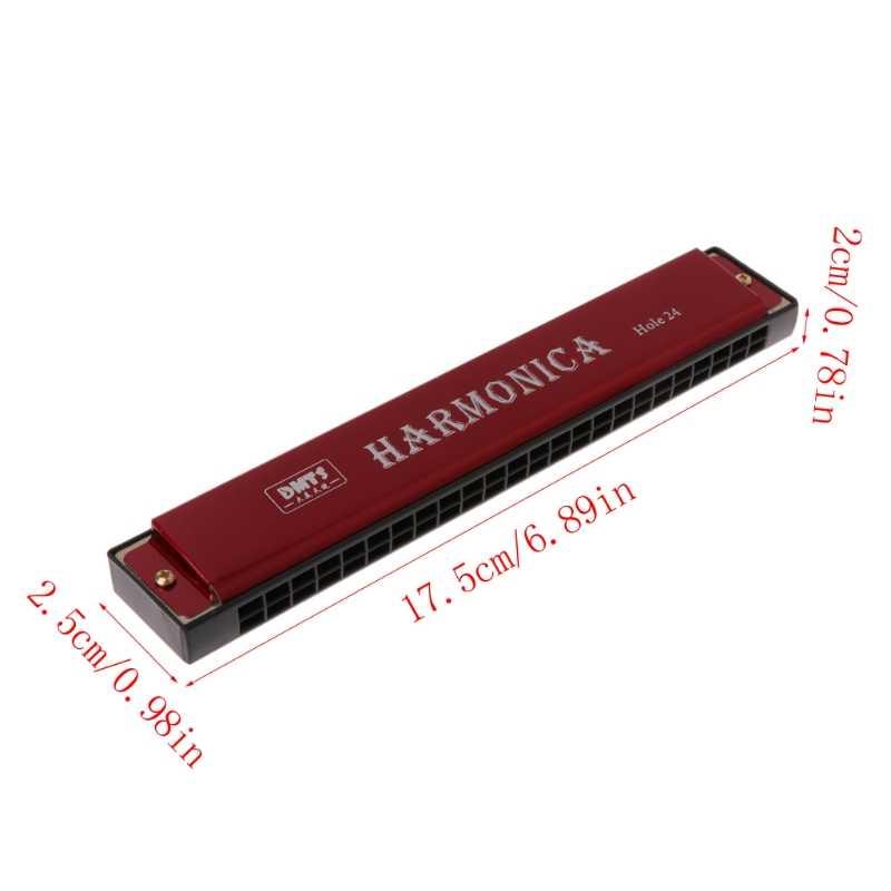 المهنية 24 حفرة هارمونيكا مفتاح C الفم الجهاز المعدني للمبتدئين