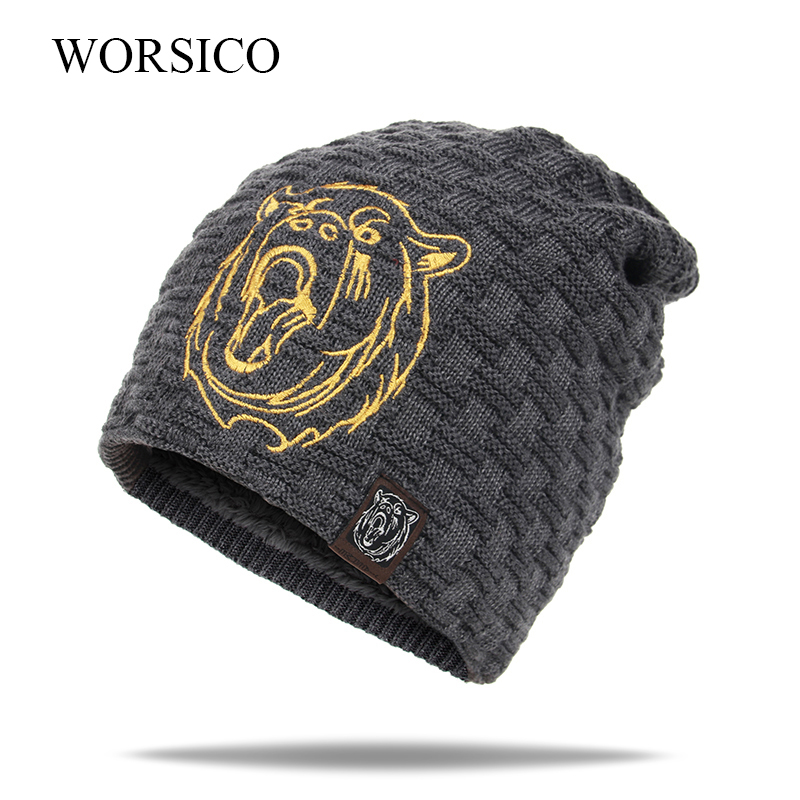 WORSICO Casual Brand Men Winter Hat Beanie Male Bear Baggy Knitted Skullies Hat Warm Thick Mask Ski Sports Beanies gorras aetrue winter knitted hat beanie men scarf skullies beanies winter hats for women men caps gorras bonnet mask brand hats 2018