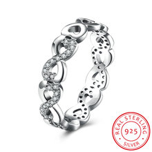 Trendy Style Infinity 925 Sterling Silver Finger Rings for Women Small Cubic Zirconia Crystal Party Ring Fashion Jewelry SR013
