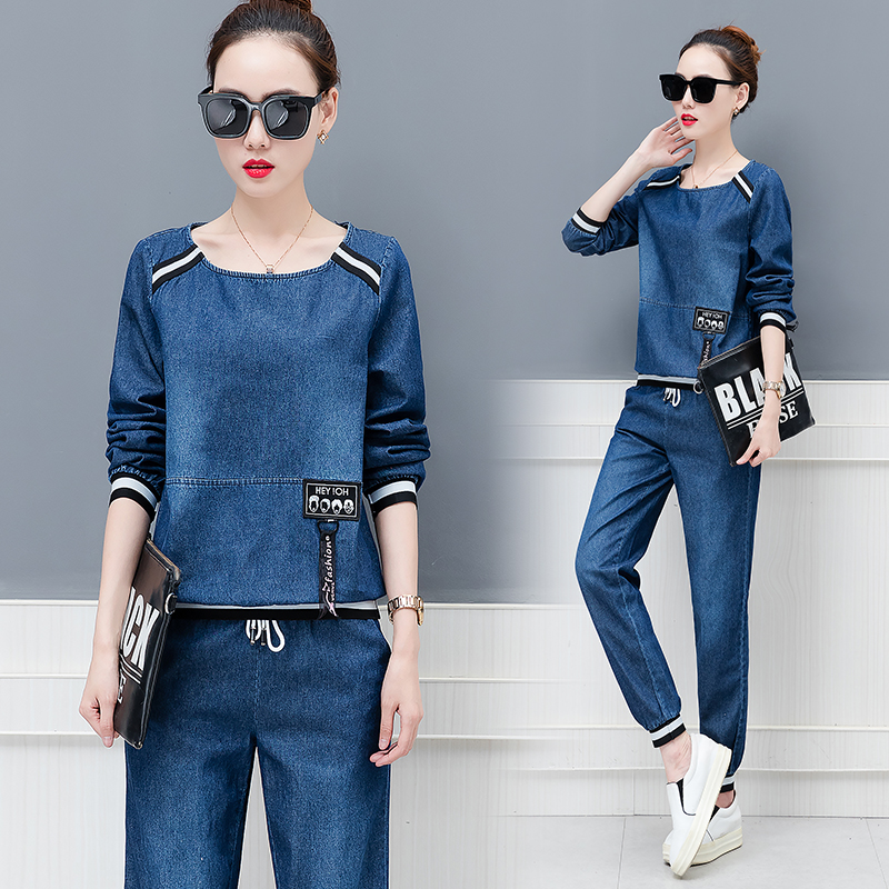 Tracksuit For Women 2019 Autumn Womens Loose Large Size Crop Tops Denim Pants Suit Female Plus Size Fashion Two Piece Sets M 3XL in Women 39 s Sets from Women 39 s Clothing