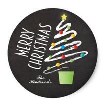 1.5inch CHALKBOARD CHRISTMAS TREE STICKERS  CUSTOM