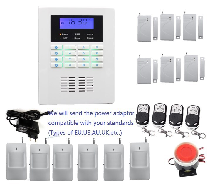 Home Security GSM PSTN alarm system kit voice in EN,FR,Russian,Italian,Czech,Spanish,Portuguese and Polish,burglar alarm system