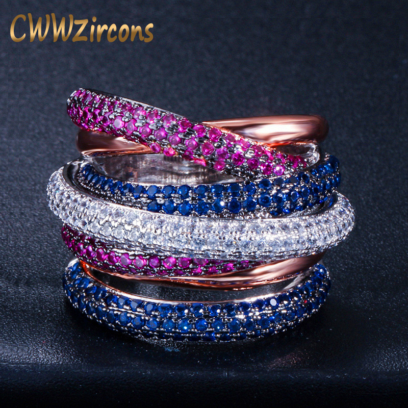 CWWZircons Luxury Cross Geometry Cubic Zirconia Engagement Dubai Unisex Rings Bridal Finger Ring Famous Brand Jewelry R119 blucome cubic zirconia nail rings bridal jewelry fashion women s copper finger ring bridal ring accessories aneis anel ouro