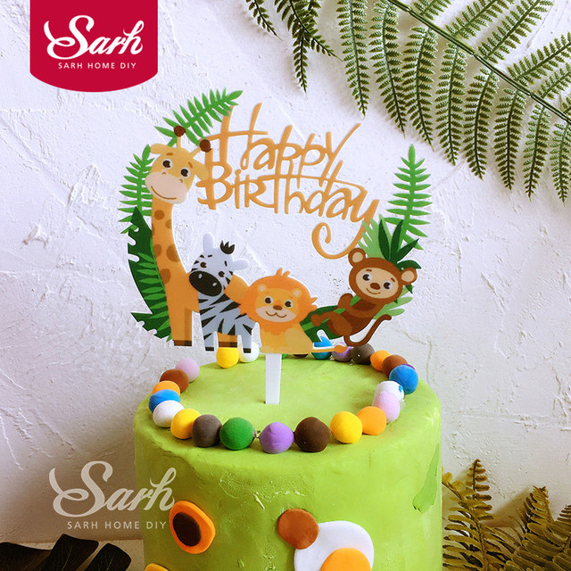 1pc Animals Giraffe Lion Happy Birthday Flower Leaves Love