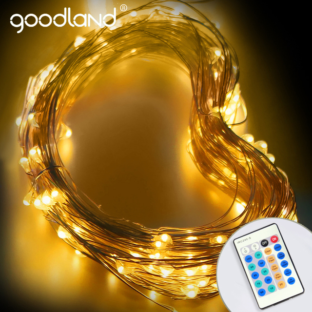 Goodland LED String Light 10m Copper Wire Lights with 12V Power Adapter Christmas New Year Wedding Decoration Lights