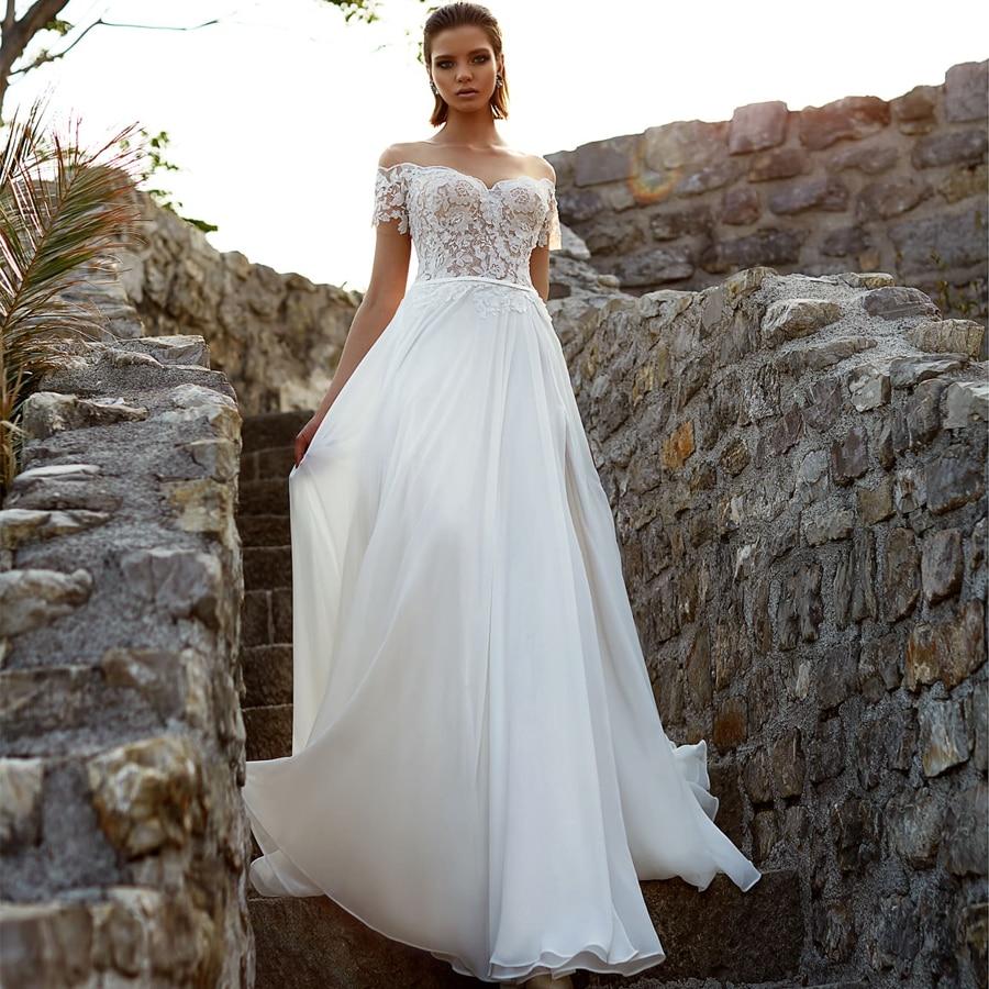 LORIE 2019 Beach Wedding Dress Cheap Chiffon With Lace Appliques Vestido De Noiva Wedding Gown White Ivory Bride dress Custom