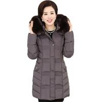 Middle Age Women Winter Faux Fur Collar Hooded Down Cotton Parka Outerwear Female Slim Wadded Plus Size Jacket Coat Outwear O395