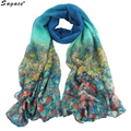 Hot Fashion Women Country Style Flowers Print Soft Voile Long Wrap Spring Autumn Scarf Shawl New Lady Scarves Pashmina Aug24