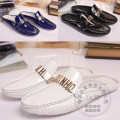 Plain Full Grain Leather Smooth Leather Glossy Trendy Stylish Slipon Shoes White Pure Color Men Shoes Indoor Bling