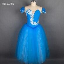 Özelleştirilmiş profesyonel bale dans Tutu deniz mavi uzun romantik tutuş balerin elbise kol bantları ile B18002