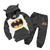 Free Shipping 2017 New Autumn Batman Kids Tracksuit Boys Top Quality Clothing Sets Toddlers Suits Hood