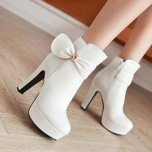 Autumn And Winter Women's Shoes Platform Pumps Black Ankle Boots With Side Zipper White High Heels Chunky Booties Beige Pink