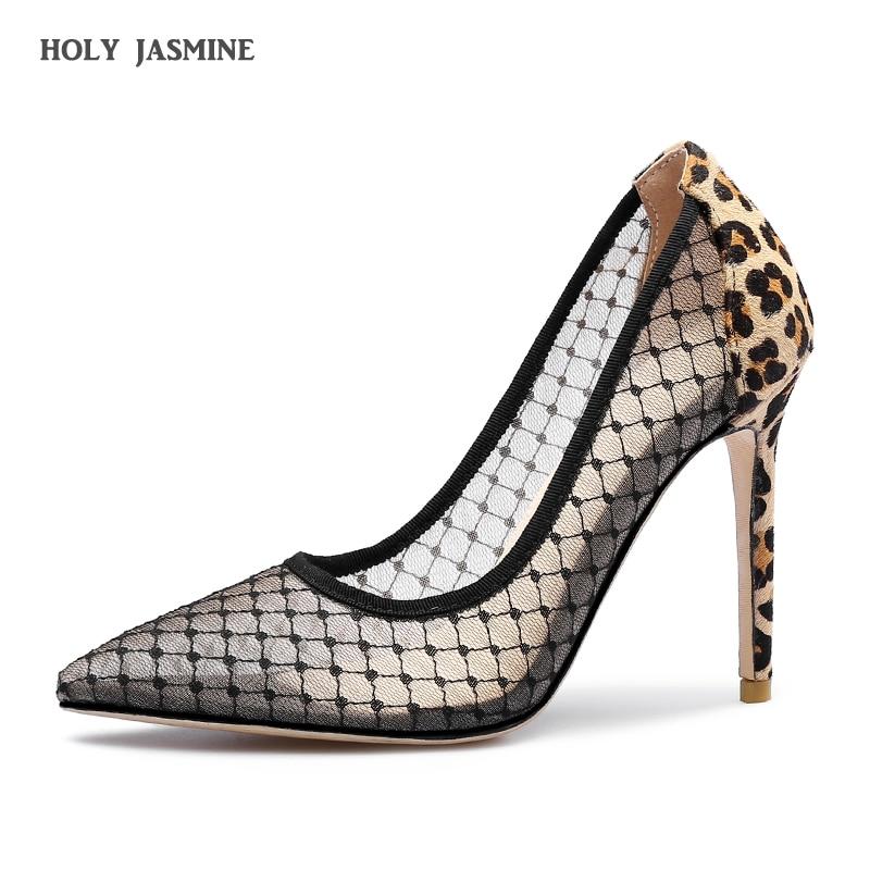 Élégant dentelle femmes pompes talons hauts Transparent fleur dentelle chaussures de mariage femmes bout pointu Sexy chaussures de fête chaussures de luxe femmes