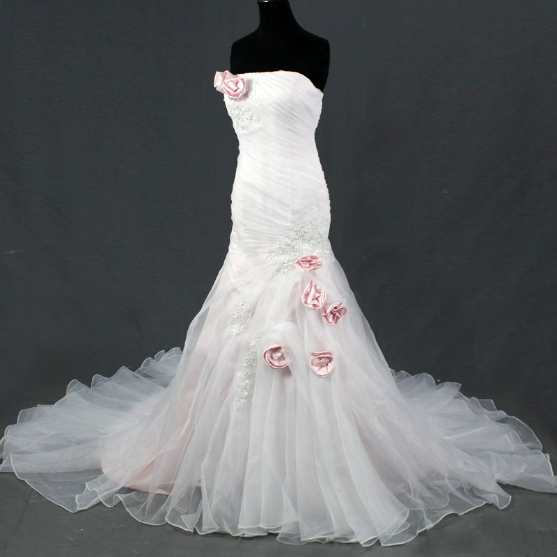 Elegant Pleated Bridal Gown with Appliques Strapless Boho ...
