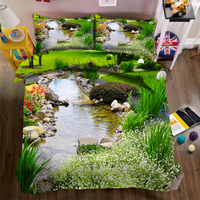 Green lawn stream 3d effect photo bed linen can be customized photo pattern