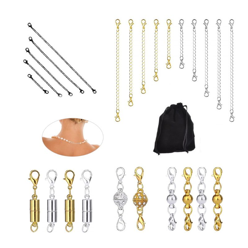 25 Pcs DIY Jewelry Cylindrical Spherical Magnetic Buckle Necklace Bracelet Extension Chain Set Jewellery Accessories For Women