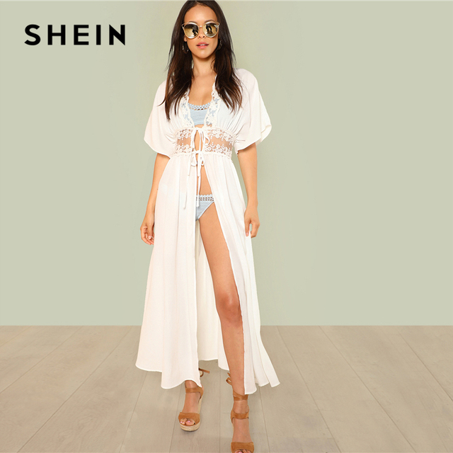 672f8a9c93b5c SHEIN White Vacation Boho Bohemian Beach Lace Insert Knot Front Sheer  Longline Kimono Summer Women Elegant Blouse Top