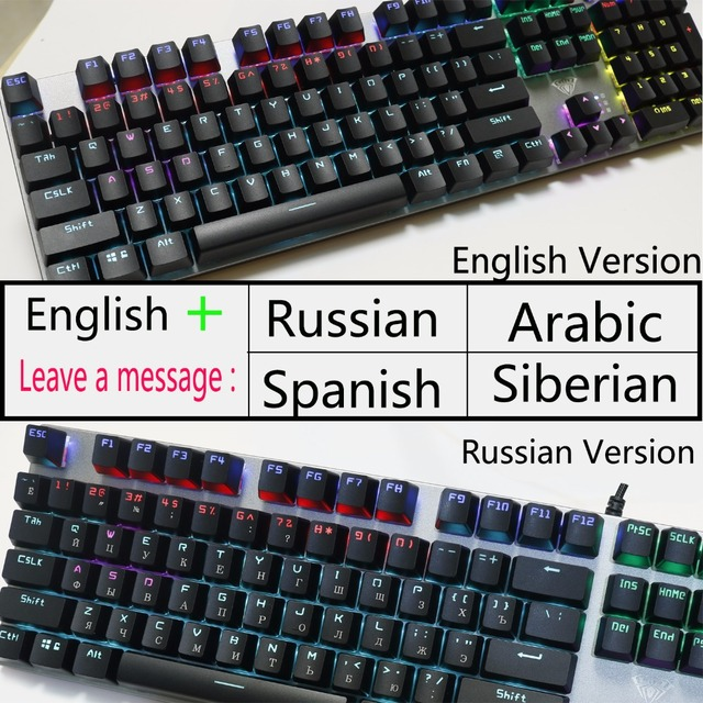 AULA PC Mechanical Keyboard 104 keys USB MIX LED Backlit Black Blue Red Switch for Russian Spanish Hebrew Arabic gaming Keyboard