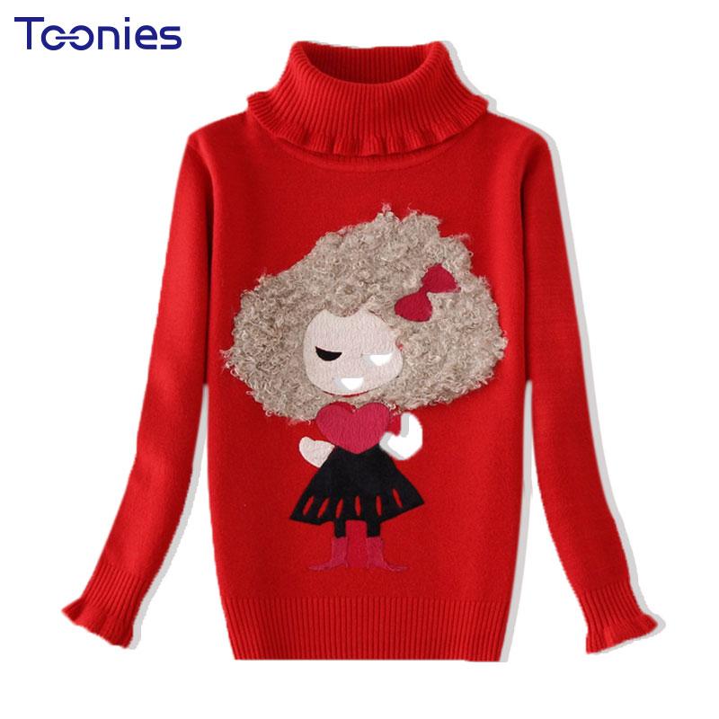 2017 зима детский свитер милые свитера для девочек толстые вязание