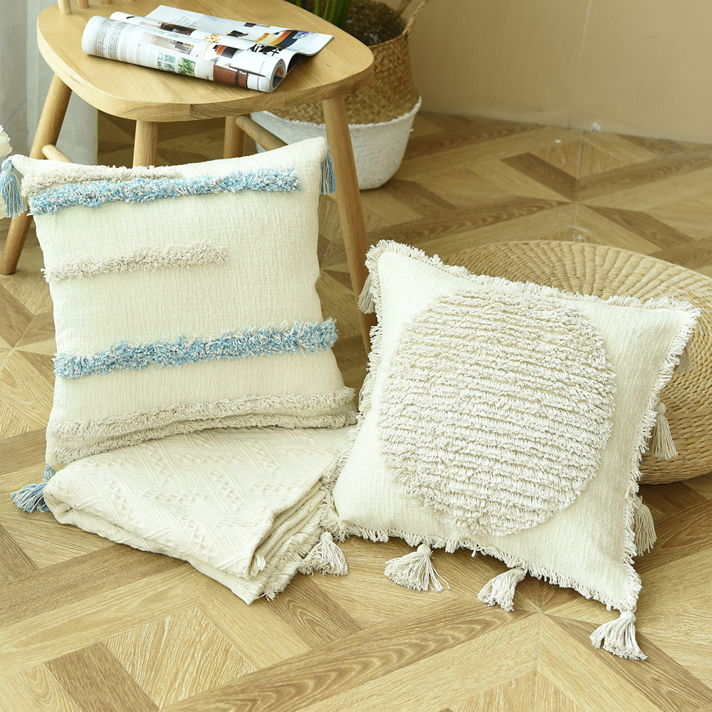 Luxury Boho Style Cushion Cover Ivory Pillow Case Handmade Plush with Tassels For Sofa Couch Home Decorative 45*45cm Zip Open tassels pillow