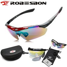 ROBESBON MTB Road Mountain Cycling Riding Bicycle Bike UV400 Sports Sun Glasses Eyewear Goggles 5 Lens Brand Cycling Sunglasses