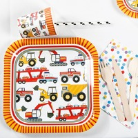 Riscawin Cartoon Car Theme Paper Plates Set Birthday Party Decoration For 8 People Disposable Tableware Set