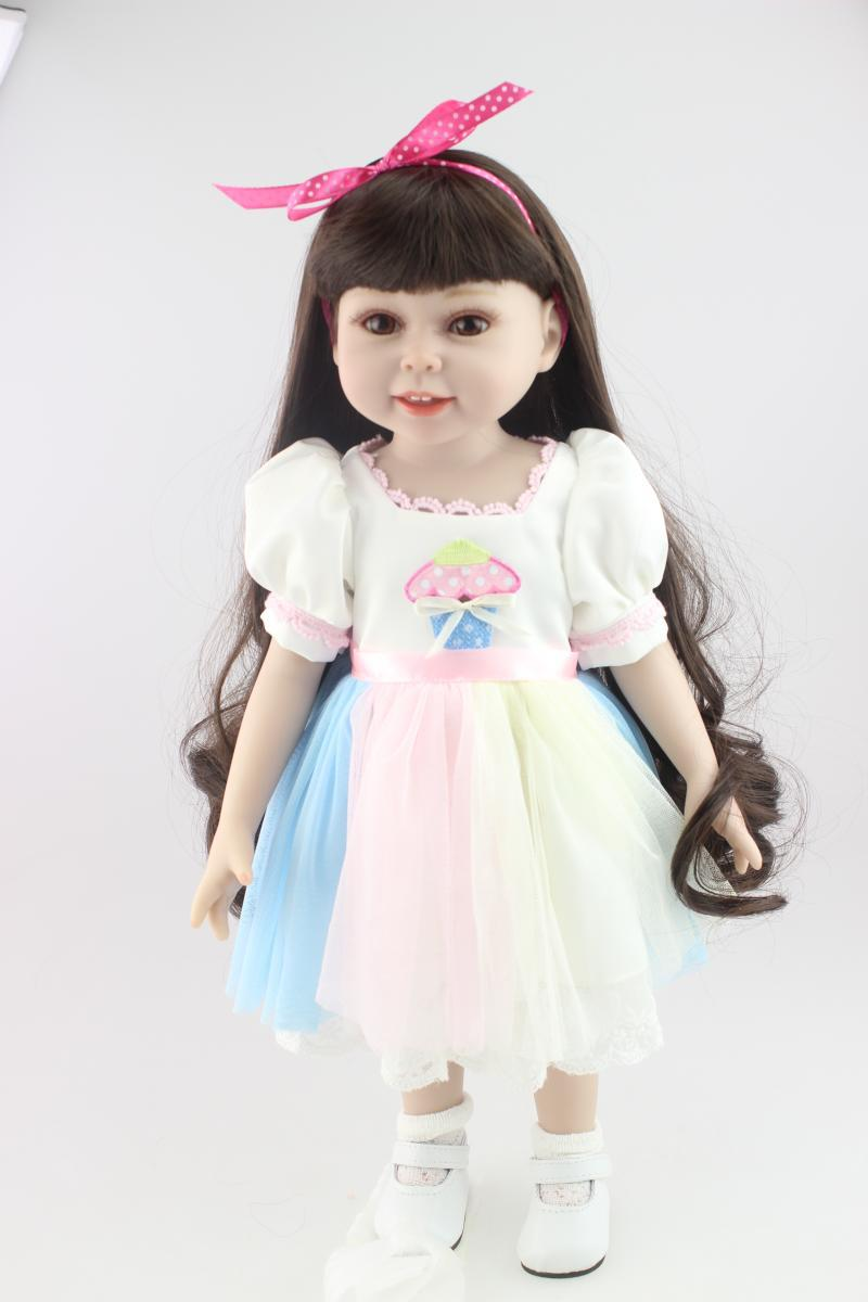 ФОТО New Arrival 45cm Fashion Vinyl American Girls Doll Reborn Baby Princess Lifelike Doll Infant Clothing Model Girl Brinquedos