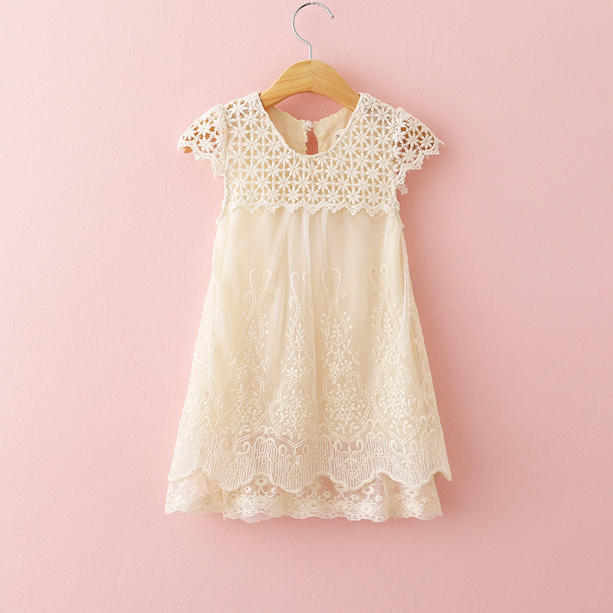 2016 Nya tjejer Sommaraftonklänning Barn Hollow Out Lace Princess Klänning Baby Girl O-Neck Party Dresses Kids Fashion Clothes
