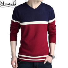2019 Mens V neck stripe Sweater men pull homme long sleeve cotton pullover Dress sweater Asian size(China)
