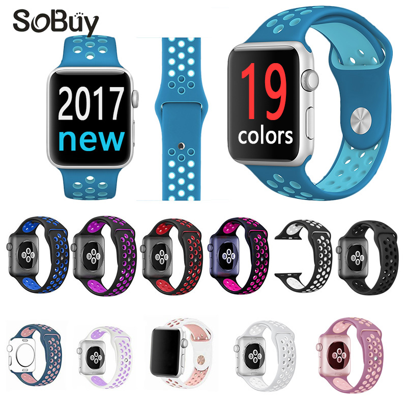 So buy sports Silicone band for apple watch nike 42mm wrist strap 38mm rubber bracelet watchbands for iwatch series 3/2/1 belt