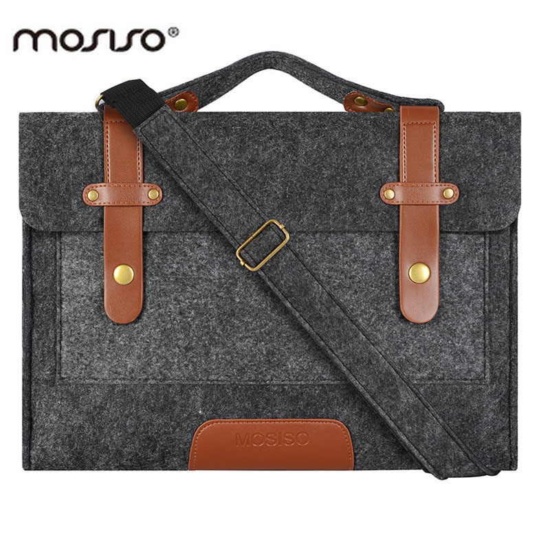 цена на MOSISO Casual Felt Laptop Shoulder Bags Strap 13.3 15 15.6 inch Briefcase for Macbook Pro/Air/Microsoft Notebook Computer Bags