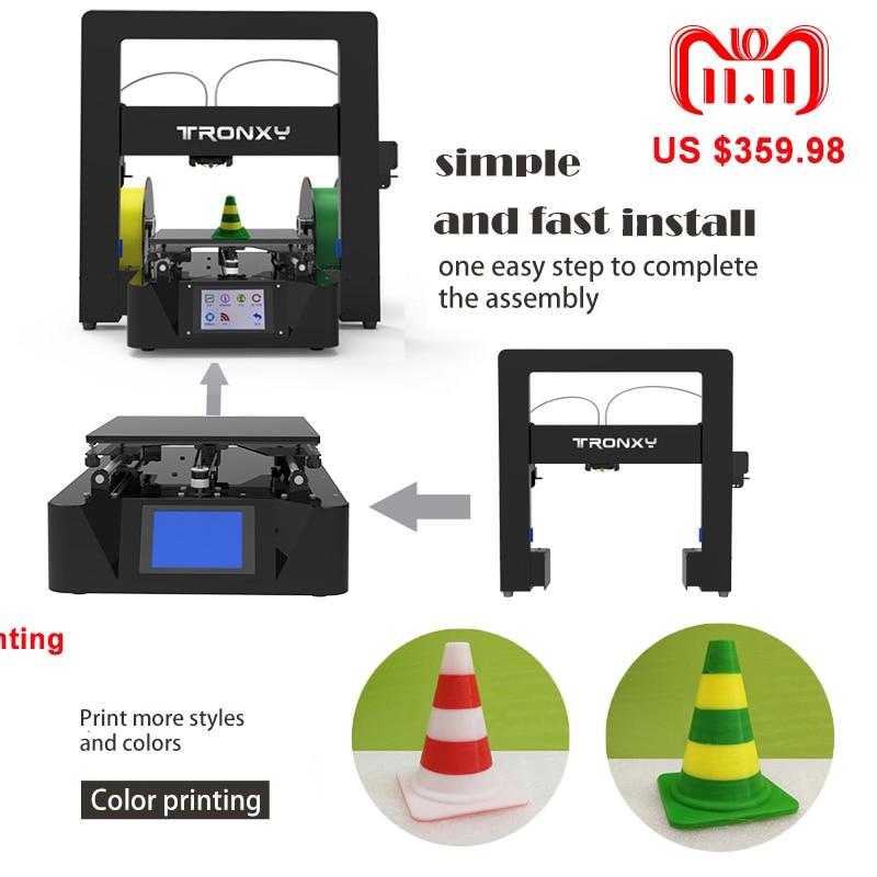 Nouvelle imprimante 3D Tronxy kits bricolage grande taille zone d'impression X6-2E double couleur impression Aluminium métal extrudeuse grande plaque chauffante imprimante 3D