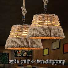 Free shipping Vintage Rope Pendant Light Lamp Creative Personality Industrial Lamp Edison Bulb American Style For Living Room