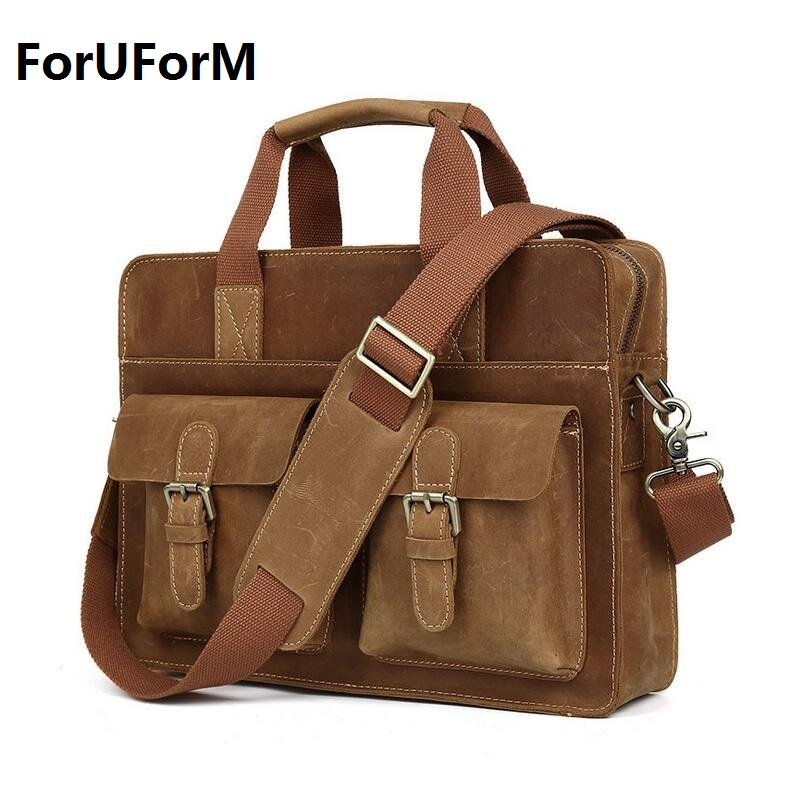 14 inches laptop Business bag Men Genuine crazy horse Leather Antique Style Briefcase Business Cases Messenger Bags Tote  LI-644 60 hanks stallion violin horse hair 7 grams each hank 32 inches in length