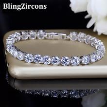 BeaQueen Bridesmaids Luxury CZ Crystal Jewelry Brilliant 6mm Big Carat Round Cut Cubic Zircon Tennis Bracelet for Women B018
