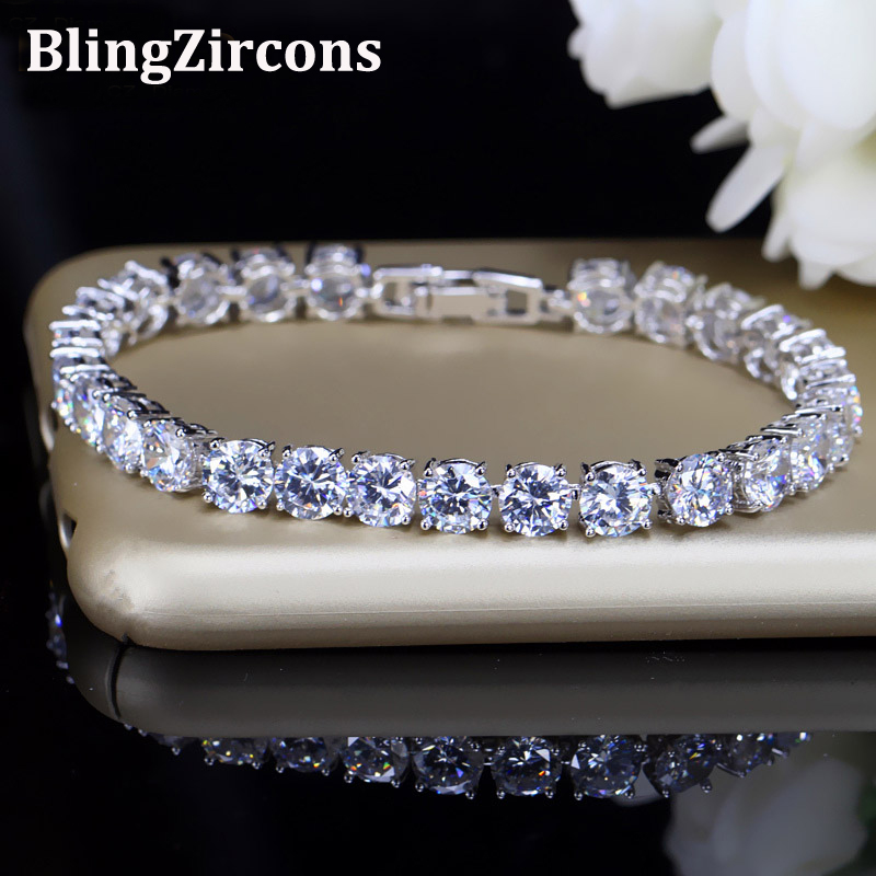 BlingZircons Bridesmaids Luxury CZ Crystal Smycken Briljant 6mm Big Carat Round Cut Cubic Zircon Tennis Armband För Kvinnor B018