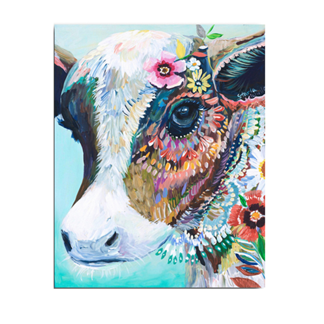 Novel Cattle Animals Cow Head Colorful Canvas Art Printed Oil Paintings  Posters Pictures For Home Wall