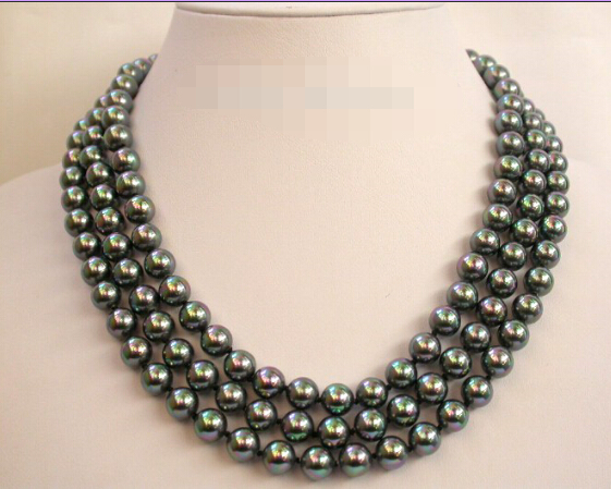 Beautiful 3rows 10mm round south Tahiti black sea shell pearls necklace