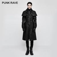 PUNK RAVE Steampunk Split Men Medium PU Leather Trench Retro Shawl Stereo Flocking Jacquard Coat Royal Cuffs Dieselpunk Jacket