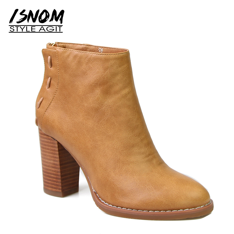 ISNOM 2018 Super High Heel Ankle Boots Platform Round Toe New Arrival Spring Boots Back Zipper Female Footwear Women Shoes new arrival superstar genuine leather chelsea boots women round toe solid thick heel runway model nude zipper mid calf boots l63