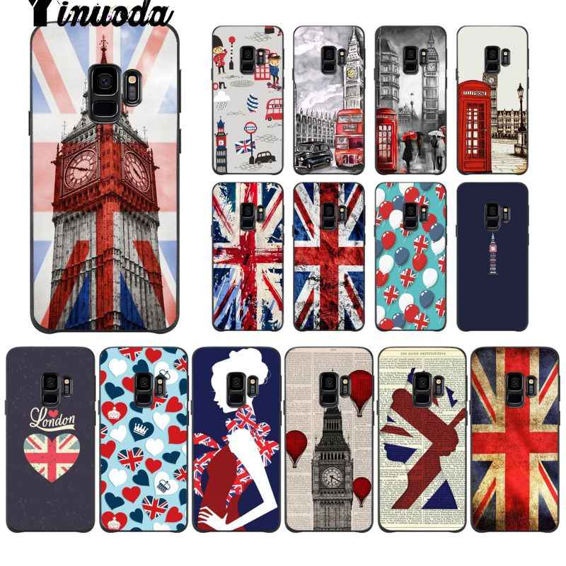 Yinuoda Flag United Kingdom London Smart Cover Black Soft Shell Phone Case For GALAXY s7 edge s8 plus s9 plus s6 s6 edge