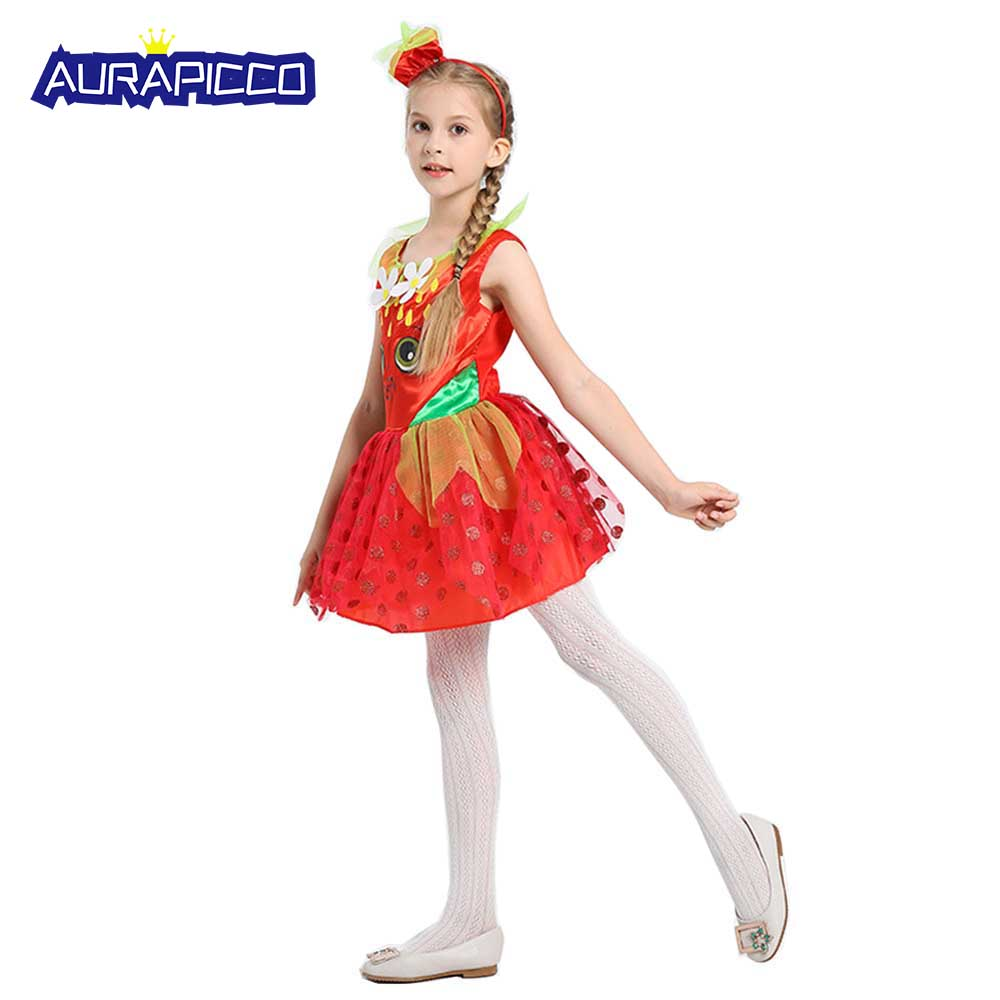 Child Strawberry Costume Fruit Princess Dress Kids Food Costume Tween Girls Red Polka Dot Fancy Dress Halloween Carnival Costume