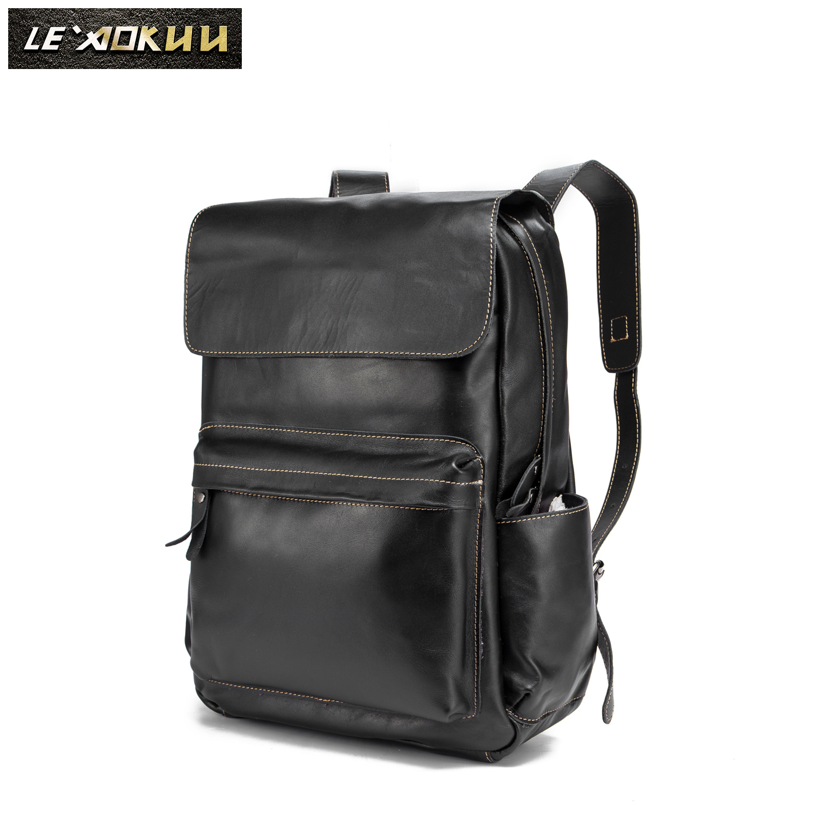Original Genuine Leather Design University Student School Book Bag Male Fashion Daypack Backpack Travel 15