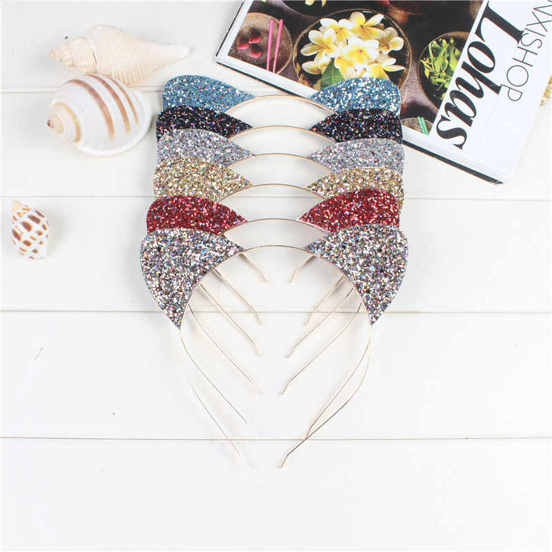 1pcs 2019 New Fashion Children Cat Ear Rainbow Bowknot Headband Girl Glittering Hair Hoop Party This for Children Accessories