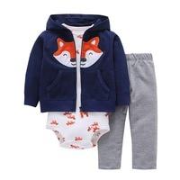 3pcs 2018 New Arrival Cotton Hoodie Set Of Little Jacket Vest Bodysuit And Pants Baby Boy