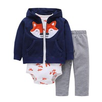 3pcs 2018 New Arrival Cotton Hoodie Set Of Little Jacket Vest Bodysuit And Pants Baby Boy