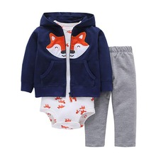 цены на 3pcs 2019 New Arrival Cotton Hoodie Set of Little Jacket Vest Bodysuit and Pants Baby Boy Girl Clothing Set Toddler Clothes  в интернет-магазинах