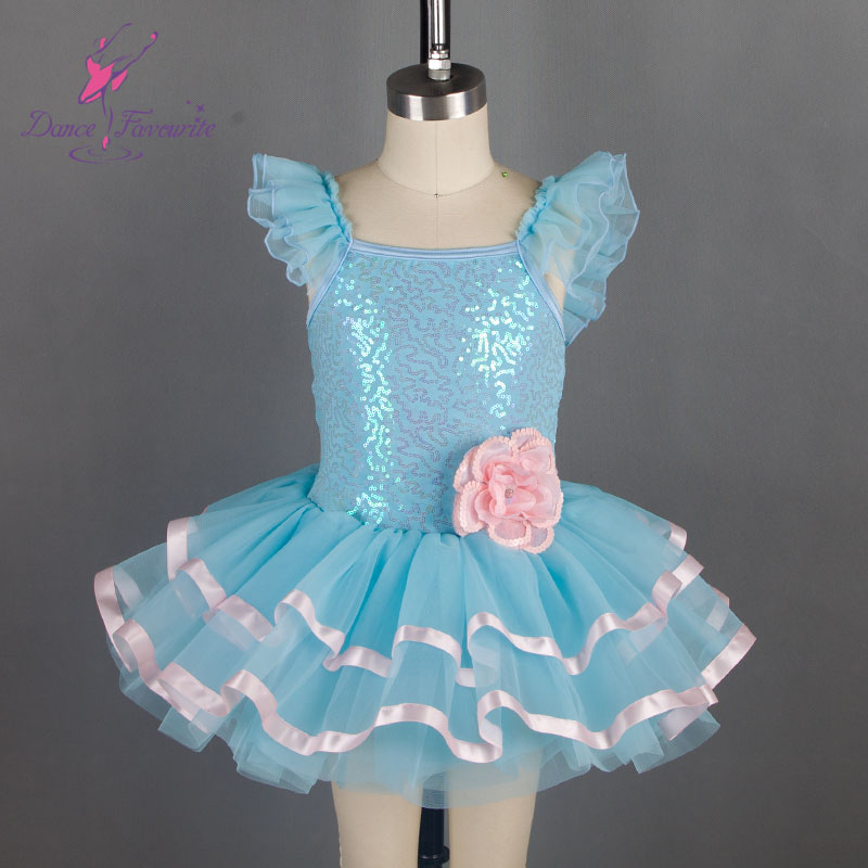 16004 Dance Favourite pale blue sparkling sequin spandex ballet tutu, girl stage performance ballet costume tutu
