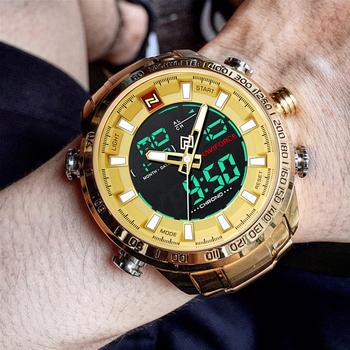 NAVIFORCE wojskowe zegarki sportowe mężczyźni luksusowa tarcza marka cyfrowy kwarcowy zegarek męski wodoodporny zegarek na rękę zegar Relogio Masculino tanie i dobre opinie 24 5cm Podwójny Wyświetlacz QUARTZ 3Bar Składane zapięcie z bezpieczeństwem Stop 16mm Szkło Kwarcowe Zegarki Na Rękę