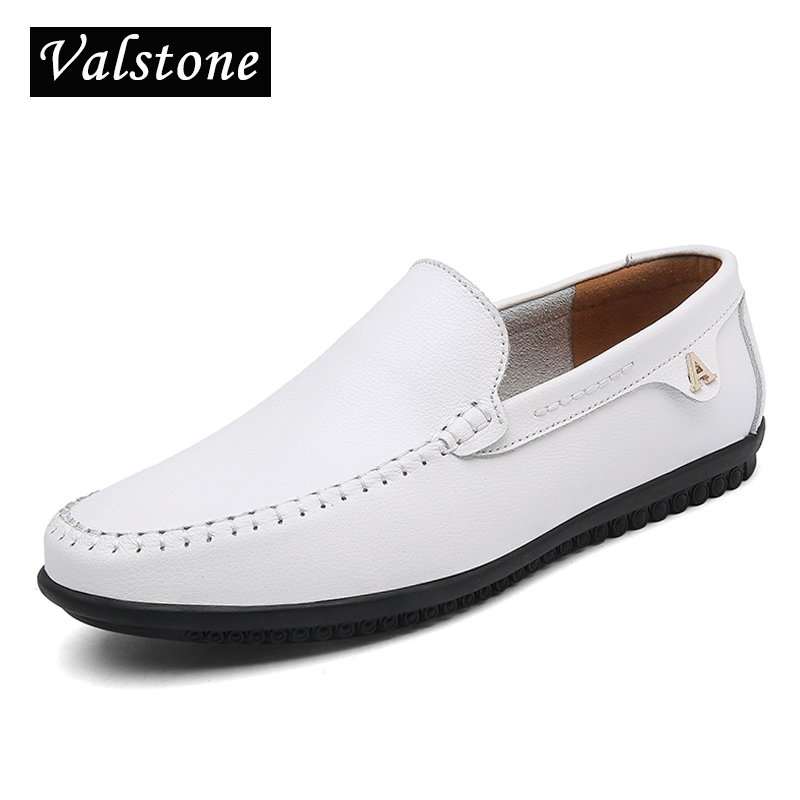 Valstone 2018 Hot sale Leather casual shoes men Quality Slip on loafers italian leather shoes Black, white Moccasins big size 47 цена
